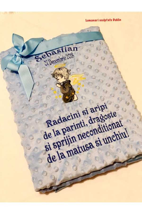 Blue Blanket with angel,name,date and...