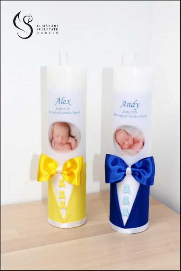 Ribbon Bow Christening Candle