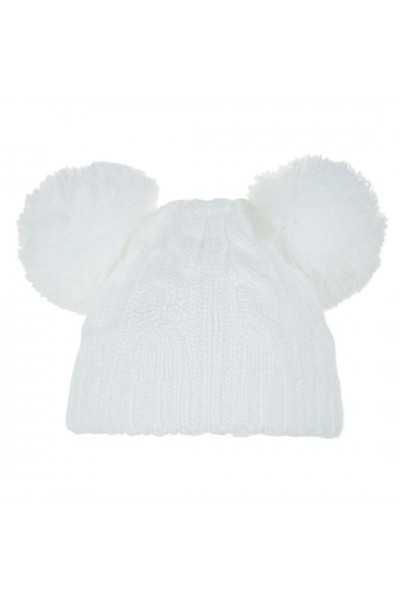 Cable Knit Hat with 2 pom-poms