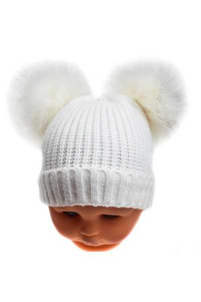 Plain Ribbed Hat with 2 fur...