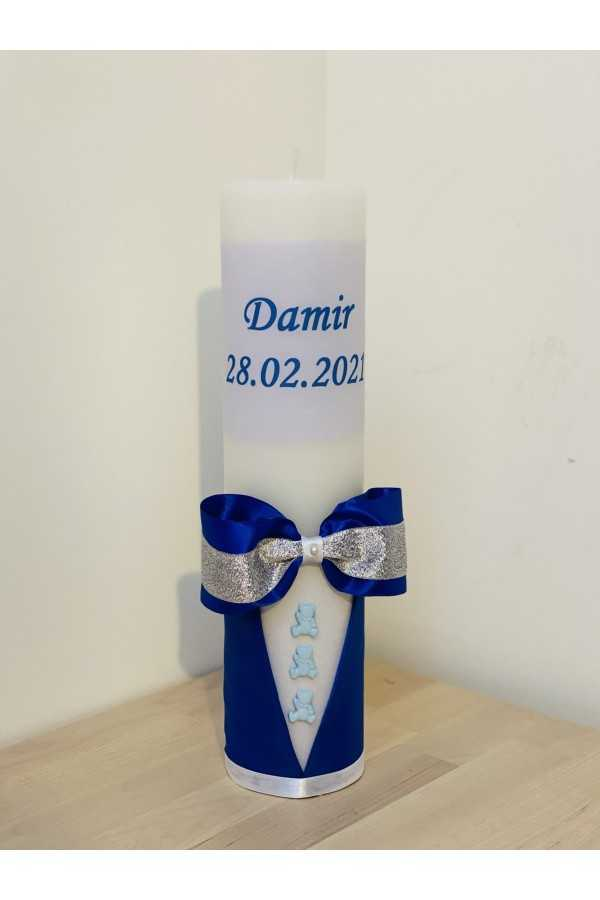 Bow Christening Candle