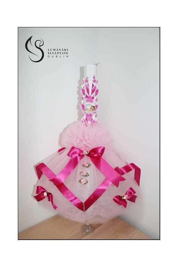 Fuchsia Carved Christening Candle