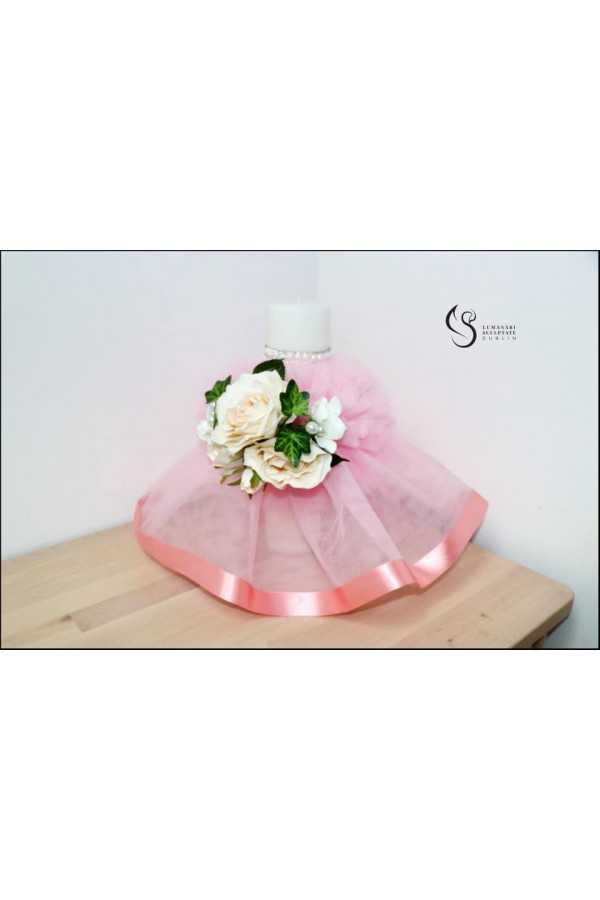 Artificials Flowers Christening Candle