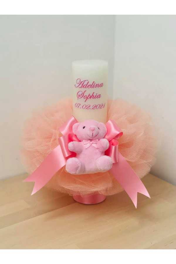 Cute Bear Christening Candle
