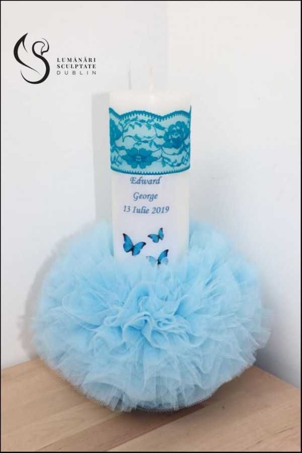 Small butterfly Christening Candle